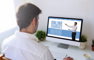 man doing online courses