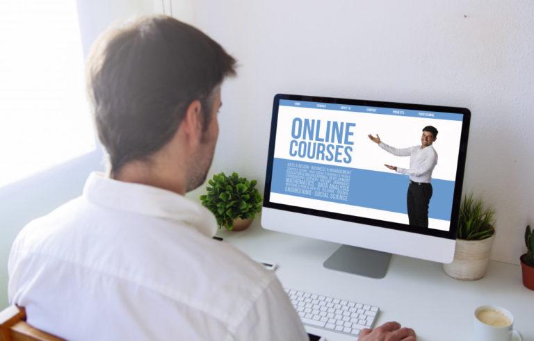 man doing online courses
