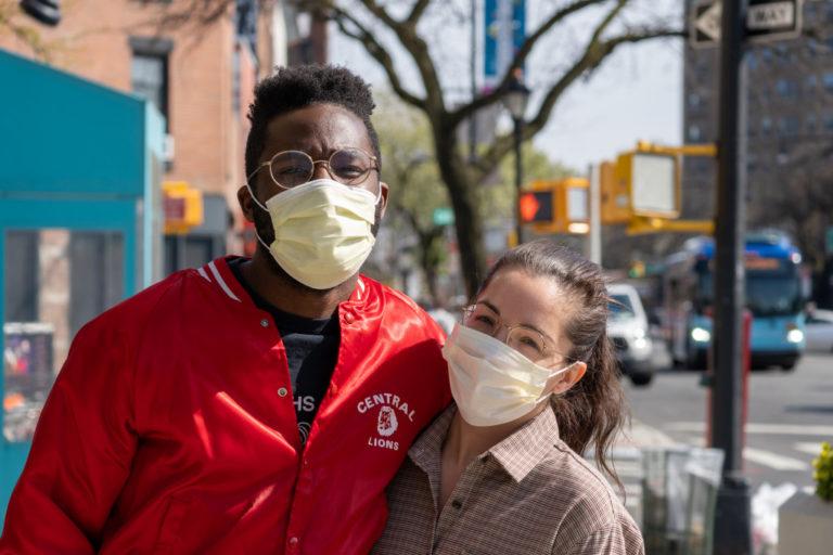 couple wearing face mask